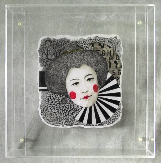 Tusk Gallery : Aninta Boonnotok : Ninja Blush I : L/E Framed in Perspex 25x25cm : 2014 : SING $395