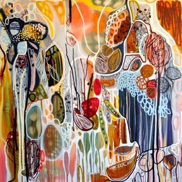 "Lisa Morgan ""Pod Gathering II"" 140x140cm"