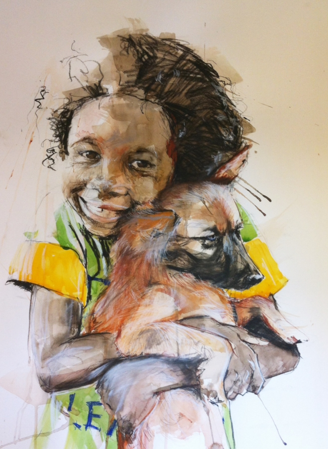 """""""Love & Light"""" framed original, watercolour and pastel on paper, 72x90cm, $3,000 frame included. Also available as a Limited Edition Print."""