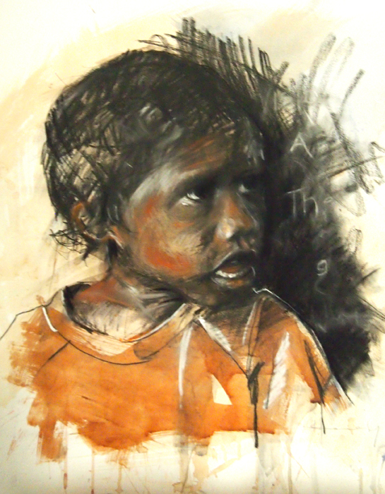 """""""Questioning"""" framed original, watercolour and pastel on paper, 74x74cm, $3,000 frame included. Also available as limited edition print."""