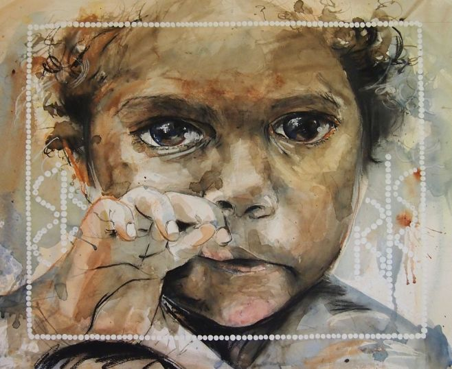"""Through Her Eyes"" framed original $3,600, watercolour and pastel on paper. Also available as a Limited Edition Print"