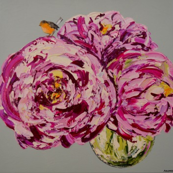 Pink-Peonies-and-Yellow-bellied-robin-100x100cm-OIl-and-acrylic-on-canvas-240022